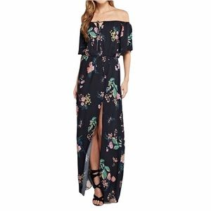 Lovestitch Navy Blue Floral Maxi Dress w Side Slit